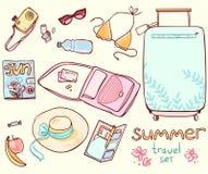 Ustawia rzeczy dla plażowego wakacje Zdjęcia Royalty Free