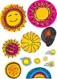 ustawia słońca różnorodnych Obrazy Royalty Free