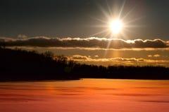 ustawia słońce zima Obrazy Royalty Free