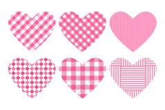 Ustawia serce menchii koloru trend Substrata w kratkę wzór Wektorowi szablonów tła dla walentynki ` s dnia sztandaru ilustracja wektor