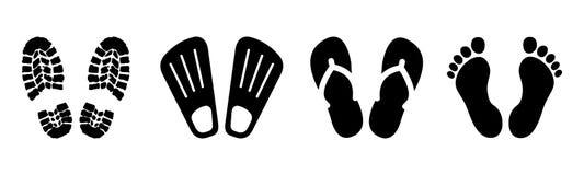 Ustawia shoeprints, bosych, flatter - wektor ilustracji