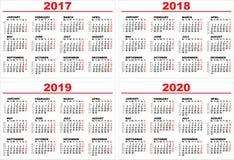 Ustawia siatka ściennego kalendarz dla 2017, 2018, 2019, 2020 Zdjęcia Royalty Free