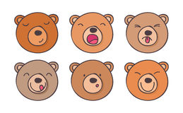 Ustawia smileys niedźwiedzi Obrazy Royalty Free