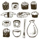 Ustawia suszi rolki l z łososiem i japońskiego owoce morza, uwędzony węgorz, selekcyjny karmowy wektor Zdjęcie Royalty Free