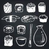 Ustawia suszi rolki l z łososiem i japońskiego owoce morza, uwędzony węgorz, selekcyjny karmowy wektor Obraz Royalty Free