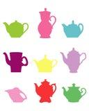 ustawia sylwetek teapots ilustracja wektor
