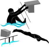 Ustawia sylwetki pływaczek atlety royalty ilustracja