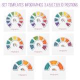 Ustawia 8 szablonów, półkole diagram Infographics dla biznesu co Fotografia Stock