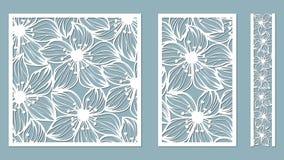 Ustawia szablon dla laserowego rozcięcia i spiskowa Kwiaty, liście dla dekoracji również zwrócić corel ilustracji wektora Majcher ilustracji