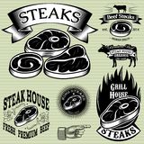 Ustawia szablon dla piec na grillu, grill, steakhouse, menu Zdjęcie Royalty Free