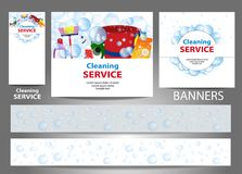Ustawia sztandary dla strony internetowej czyści usługa Szablonu standardowy rozmiar wektor ilustracja wektor
