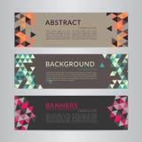 Ustawia sztandary inkasowych z abstrakcjonistycznego miękkiego koloru mozaiki poligonalnymi tło Geometryczni trójgraniaści wzory, Zdjęcia Royalty Free