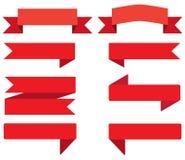 Ustawia tasiemkowego sztandar czerwony tasiemkowy sztandar na białym tle Obrazy Stock