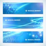 Ustawia technologia sztandaru medycznego tło dla sieci lub druku Fotografia Royalty Free
