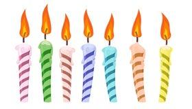 Ustawia urodzinowe świeczki ilustracja wektor