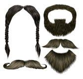 Ustawia wąsów różnych kolory broda ilustracja wektor