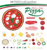Ustawia włoską pizzę z ingerdients Obrazy Royalty Free