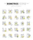 Ustawia wektor Kreskowe ikony Biometrics ilustracji