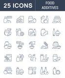 Ustawia wektor Kreskowe ikony Karmowi Additives Obraz Stock