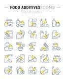 Ustawia wektor Kreskowe ikony Karmowi Additives Fotografia Stock