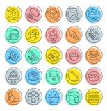Ustawia wektor Kreskowe ikony mąka produkty Zdjęcia Stock