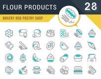 Ustawia wektor Kreskowe ikony mąka produkty Obrazy Stock