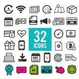 Ustawia wektor kreskowe ikony w płaskim projekcie z elementami dla mobilnych pojęć i sieci apps ilustracja wektor
