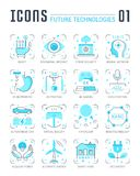 Ustawia wektor Kreskowe Płaskie ikony Przyszłościowe technologie Obraz Royalty Free