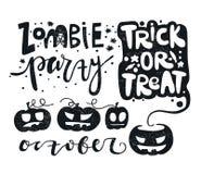 Ustawia wektorową ilustrację dla Szczęśliwego Halloween zombie sztuczka przysmaki Bania royalty ilustracja
