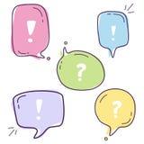 Ustawia wektorową ilustrację kolorowi dialog mowy bąble z ikonami pozwala ` s opowiadać z kreskowym stylem na białym tle ilustracji