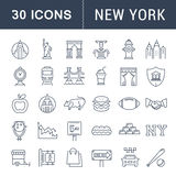Ustawia Wektorowe mieszkanie linii ikony Nowy Jork royalty ilustracja