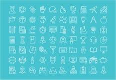 Ustawia Wektorowe mieszkanie linii ikony Uniwersyteckie Zdjęcia Royalty Free