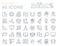 Ustawia Wektorowego mieszkanie linii ikon Physic Obrazy Royalty Free