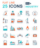 Ustawia Wektorowego mieszkanie linii ikon przemysłu paliwowego Obrazy Royalty Free