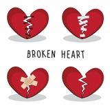 Ustawia wektorowego złamane serce Ja jest o miłości ilustracji