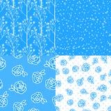 Ustawia Wektorowej Abstrakcjonistycznej zimy błękitnego bezszwowego wzór Kwiat róże wręczają rysunkową ilustrację odizolowywającą Ilustracji