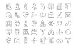 Ustawia Wektorowych mieszkanie linii ikon Medyczną edukację Obrazy Stock