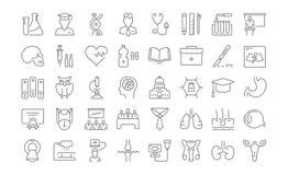 Ustawia Wektorowych mieszkanie linii ikon Medyczną edukację Zdjęcie Stock