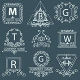 Ustawia wiktoriański logów, ornamentacyjny korporacyjny styl Zdjęcie Royalty Free