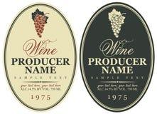 Ustawia wino etykietki ilustracja wektor