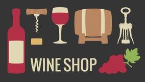 Ustawia wino ikonę Butelka, szkło wino, wiązka winogrona Wektorowa płaska ilustracja Dla sieci, logotyp, ewidencyjne grafika Odiz Fotografia Royalty Free