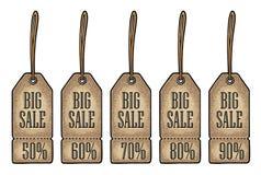 Ustawia wiszącą sprzedaży etykietkę, majcheru i etykietki, Obniżona cena z up to 50, 90 procentów tekstem - Zdjęcia Royalty Free
