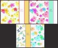 Ustawia wzór dla horyzontalnych kart z motylami i hibisc Obraz Royalty Free