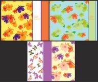 Ustawia wzór jaskrawego karty z motylami i poślubnikiem Zdjęcie Royalty Free
