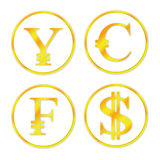 Ustawia złocistego pieniądze Zdjęcie Royalty Free