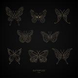 Ustawia złocistych motyli geometrycznych kształty również zwrócić corel ilustracji wektora Fotografia Stock