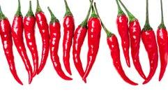 Ustawia z gorącymi chili pieprzami na białym tle zdjęcie royalty free