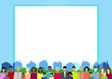 Ustawia z ludźmi, rodziną, elektoratem, etc na miasteczku ilustracji
