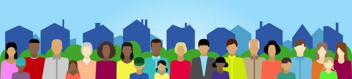 Ustawia z ludźmi, rodziną, elektoratem, etc na miasteczku ilustracja wektor
