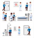 Ustawia z medycznymi pracownikami oczny szpital i pacjenci w różnych sytuacjach Profesjonaliści przy pracą Opieka zdrowotna ilustracja wektor